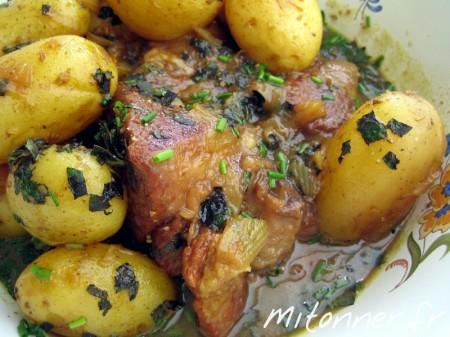 Porc au miel et aux pommes-de-terre nouvelles