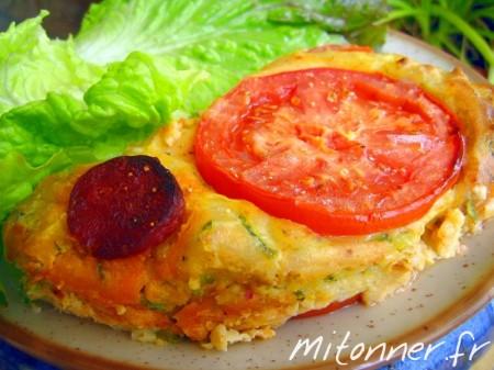 Clafoutis à la courgette, tomate et chorizo