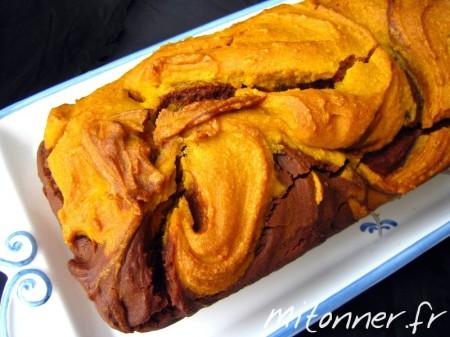 Gâteau marbré au potimarron et au chocolat
